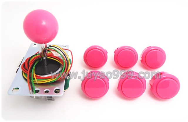 1 pcs of JLF-TP-8YT with 6 pcs of  OBSF-30 Sanwa push button for arcade game machine, multi color for choosing