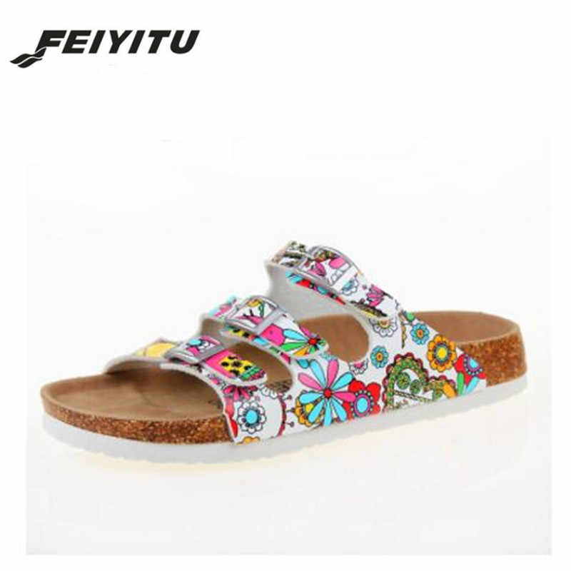FeiYiTu New Summer Buckle Cork Slipper Sandals Flat with Shoes 2018 Casual Women Mixed Color Beach Slides Flip Flops White Pink