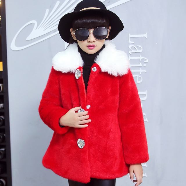 Girls faux fur coat 2015 Autumn/Winter warm Clothes Children Kids baby girls fur coat children outerwear jacket Warm clothing