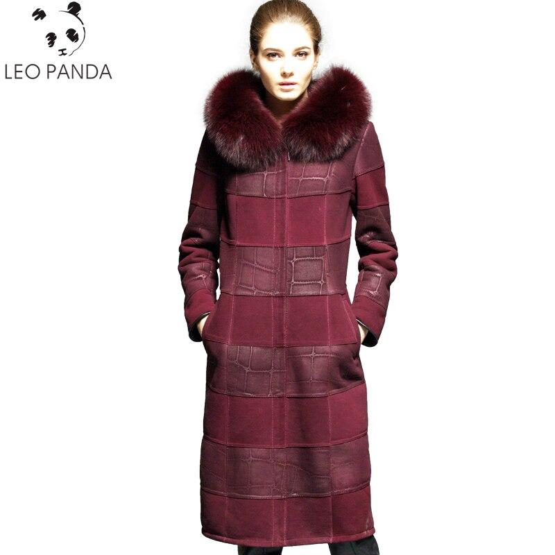Русский из натуральной овчины пальто для женщин Новинка 2018 года Зима Превосходное качество кашемировая подкладка Лисий меховой воротник к
