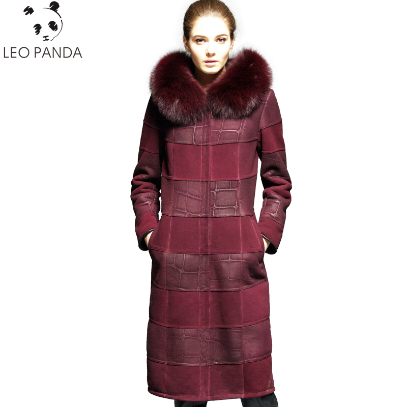 aeed7e12e53 Russian Real Sheepskin Coat Women 2018 New Winter Superior quality Cashmere  Lining Fox Fur Collar Leather Jacket Plus Size 6XL
