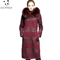 Russian Real Sheepskin Coat Women 2018 New Winter Superior quality Cashmere Lining Fox Fur Collar Leather Jacket Plus Size 6XL