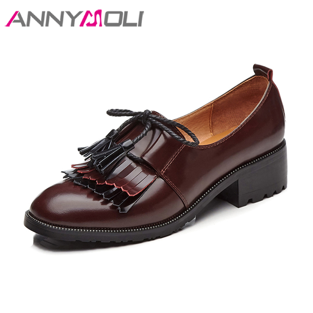 ANNYMOLI Natural Leather Shoes Women Flats Slip On Loafers Tassels Bow-knot 2018 Shoes Fringe Casual Genuine Leather Shoes Flats lin kingnew women flats shoes fashion pu casual shoes solid slip on ankle shoes retro tasssel loafers thick sole knot lazy shoes