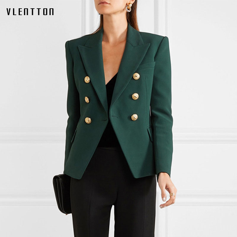 Newest Fashion Jacket Woman Spring Autumn 2019 Office Women Blazer Metal Buttons Double Breasted Jacket Ladies Blazer Outer