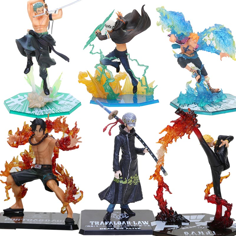 17-20cm Anime One Piece Roronoa Zoro Luffy Ace Boa Sanji shanks sabo PVC Action