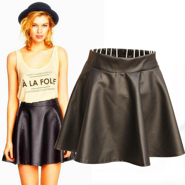 Popular Faux Leather Flared Skirt-Buy Cheap Faux Leather Flared ...