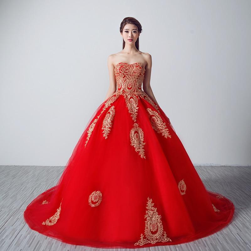 Popular gold dresses for weddings buy cheap gold dresses for Red and gold wedding dress