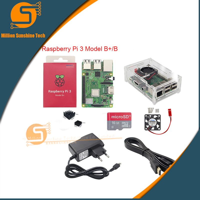 Raspberry pi 3B+/3B+16GB/32GB+ Heat sink+ fan+ Case +5V 2.5A power+HDMI cable for Raspberry pi 3B/3B+ free shipping цена