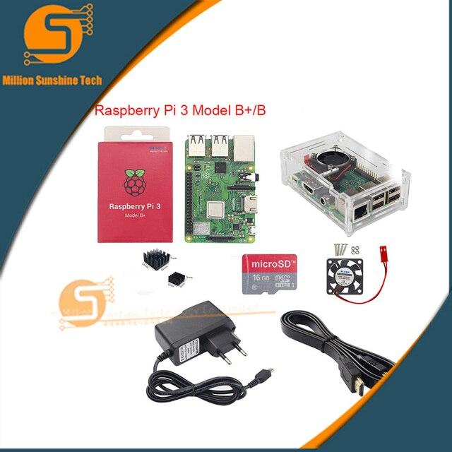 Najnowszy! Raspberry pi 3B +/3B + 16GB/32GB + radiator + wentylator + obudowa + 5V 2.5A moc + kabel HDMI dla Raspberry pi 3B/3B + darmowa wysyłka