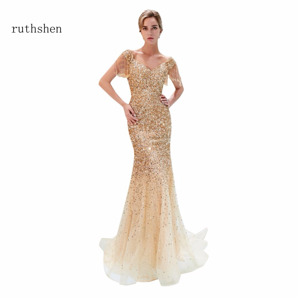 ruthshen Robe De Soiree Sexy Mermaid Prom   Dresses   Cap Sleeves   Evening     Dress   Formal Gowns Short Sleeves In Stock Vestido Noche