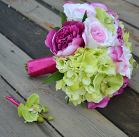 Handmade Artificial Flower Wedding Flower Bride Holding Flowers Pink Is Green Peony Orchid