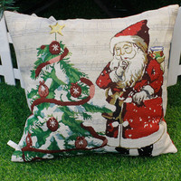 Happy Christmas Sofa Seat Back Cushion Home Decor Pillow Cases Cover Pillow Core