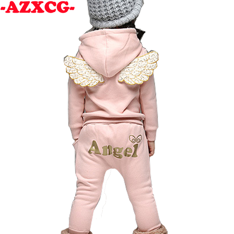 Baby Girls Clothing Sets Winter Children' s Sweater Cotton Tracksuits Kids Fleece Angel Wings Style Set Long-sleeved Sweater Set carter s 2pcs baby children kids 2 piece little sweater set 121h218 sold by carter s china official store