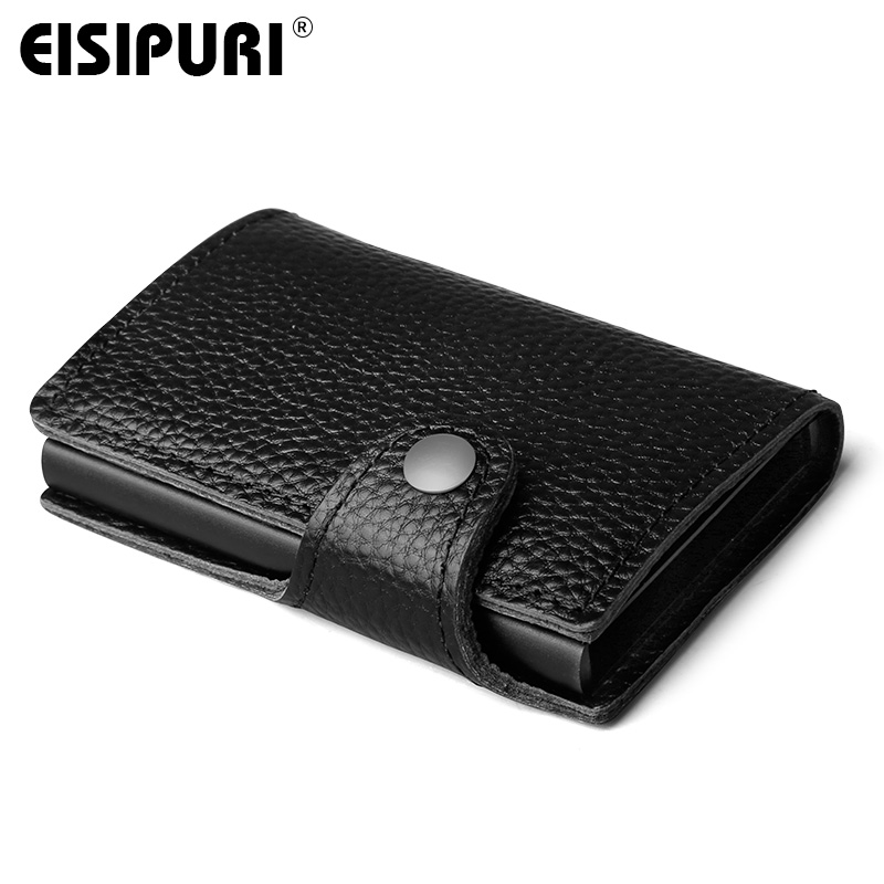 цена на Men Genuine Leather Wallet With Back Pocket ID Card Holder RFID Blocking Mini Magic Wallet Automatic Pop Up Credit Card Coin