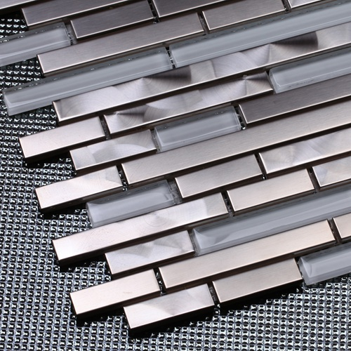 Silver Stainless Steel Mixed White Glass Strip Mosaic Tiles For Kitchen  Backsplash Bathroom Wall Shower Tiles