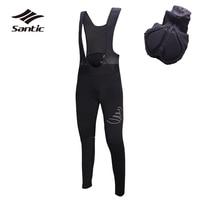 Santic Cycling Pants Men 4D Coolmax Padded Road Mountain Bike Pants Breathable Long Bicycle Bib Tights Black Pants