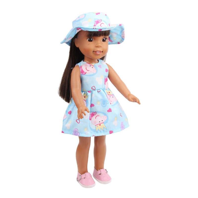 Одежда для кукол 14,5 сапоги с меховой отделкой для девочек платье с принтом + шляпа 4 цвета подходит для девочек кукла аксессуары x17-x20