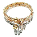 New Fashion Butterfly Pendant Bracelet Trendy Multilayer Metal Colorful Crown Rhinestone Cuff Bracelet Women Jewelry Accessories