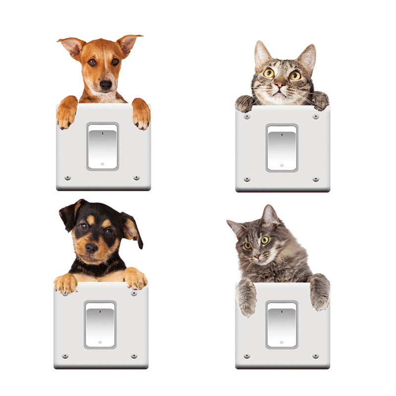 Very Cute 3D Cat And Dog Switch Stickers PVC Removable Wall Sticker Vinyl For Bedroom Living Room Home Decor Decals Socket Paste