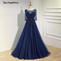 Elegant Dark Blue Long Evening Dresses 2017 Beading Pearl Floor Length Prom Dresses Robe De Soiree