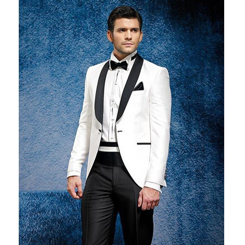 Изготовленный на заказ белый пиджак и брюки черного цвета летний костюм пляжное платье смокинг мужской костюм смокинг, фрак Свадебный кост