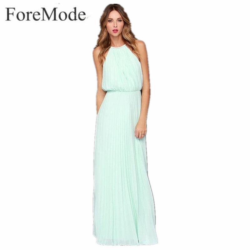 Impresión floral de la gasa del halter largo de split beach dress mujeres 2017 v