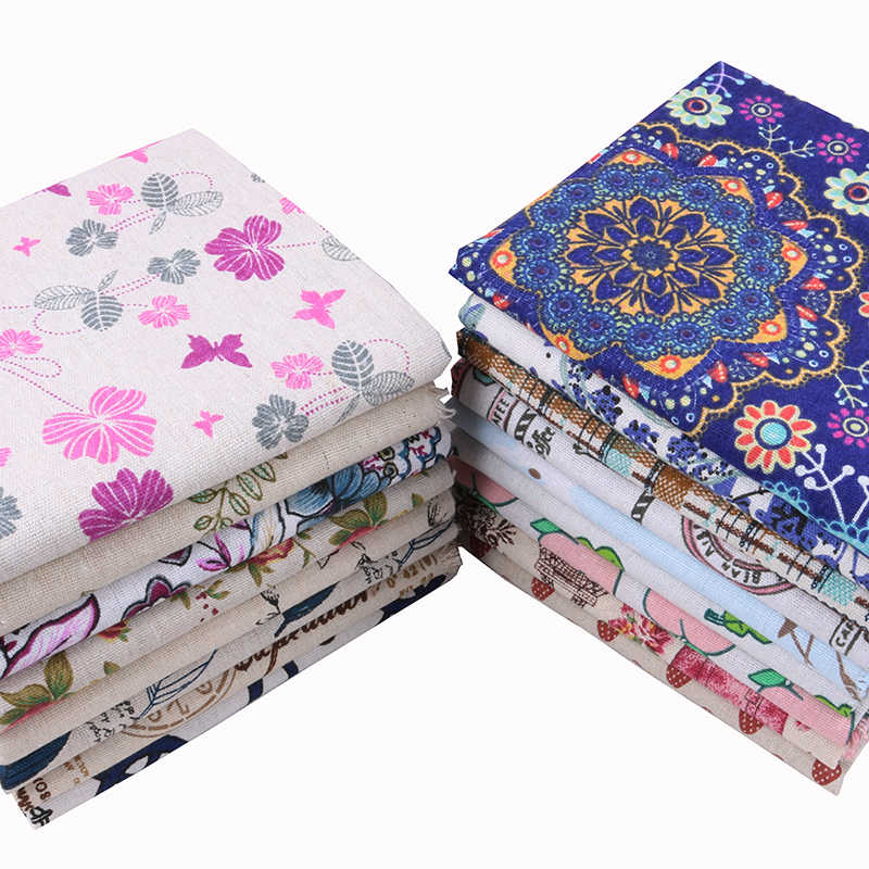 Nanchuang Flor de Algodão Tecido De Linho Zakka Handmade Sacos de Pano Para Sofá Almofada Cobrir os Móveis Boneca Material de Costura 45x45 cm/Pcs
