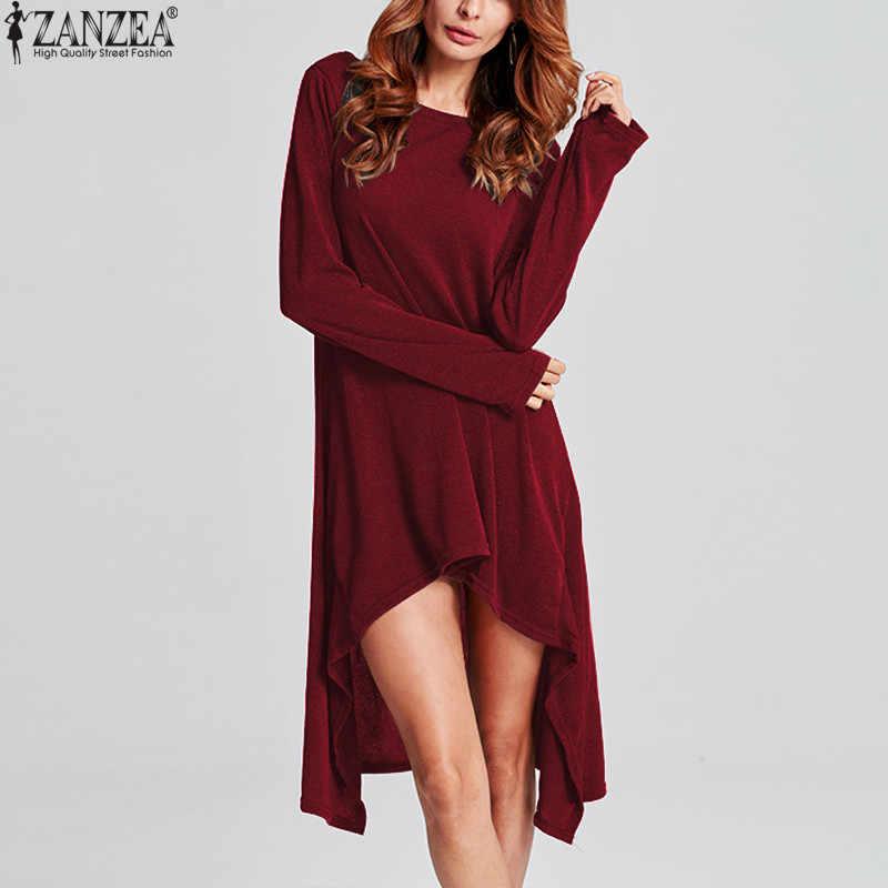 ZANZEA Vrouwen Trui Jurk Winter Gebreide Jurken 2019 Herfst Dames Lange Mouwen Casual Losse Midi Vestidos Pull Femme Plus Size