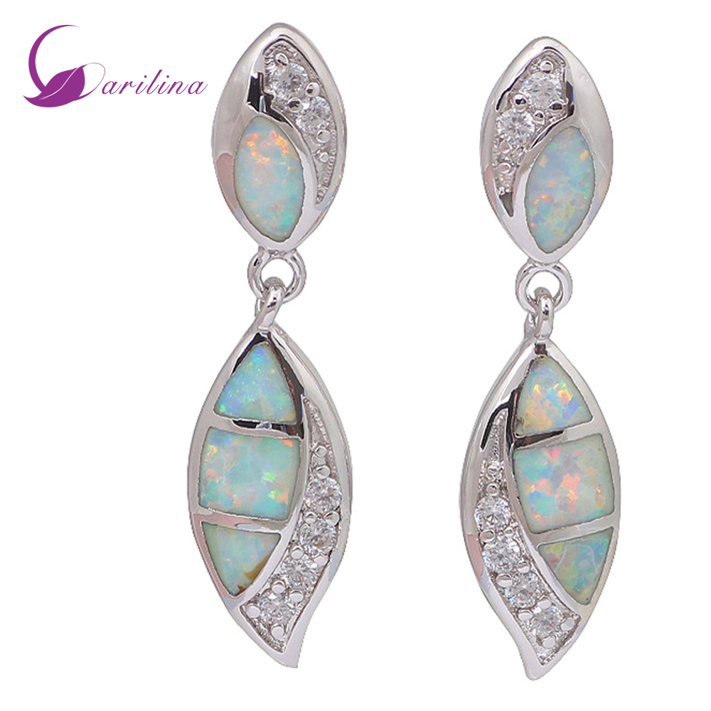 Us 5 11 30 Off Brand Designer White Opal Earrings Cubic Zirconia Silver For Women Cute Fashion Jewelry E123 In Stud From