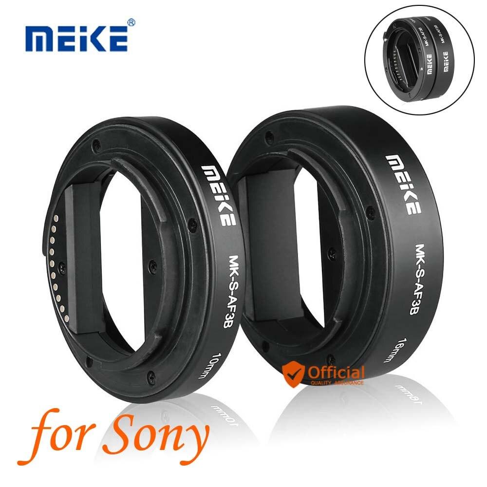 Meike auto focus macro Extension tube 10mm 16mm para Sony e-mount fe de montaje cámara sin espejo a7S A7R A7M2 NEX-F3/6/7 A6300 A6500