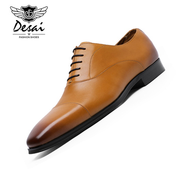 DESAI Genuine Leather Men's Formal Shoes Pointed Top Quality Cow Leather Oxfords Luxury Men Business Dress Shoes EU Size 38-47