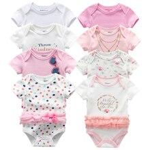 Body pour nouveau né, 8 pièces/lot, impression Design en dentelle de coton, vêtements dété pour bébés filles
