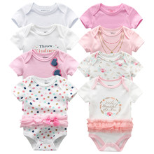 Newborn Bodysuit 8Pcs/lot Cotton lace Design Printing Summer Bodys Clothing Roupas de bebe Jumpsuit Baby Girl Clothes(China)