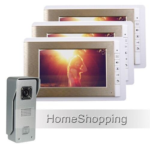 Бесплатная доставка проводной 7 TFT Цвет телефон видео домофон Системы с 1 Водонепроницаемый Дверные звонки Камера + 3 золотой мониторы в нали...