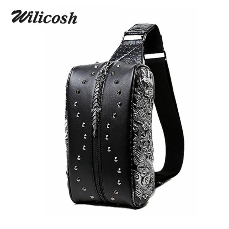 ФОТО 2016 Occident Style Pu Leather Chest Pack 3D Dragon Men Messenger Bag Casual Men's Travel Bags Vintage Men Crossbody Bags DB5489