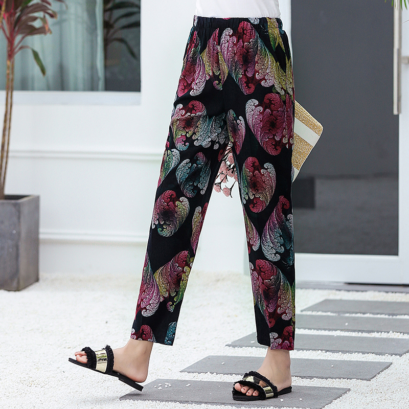 Image 4 - 22 Colors 2019 Women Summer Casual Pencil Pants XL 5XL Plus Size High Waist Pants Printed Elastic Waist Middle Aged Women Pants-in Pants & Capris from Women's Clothing