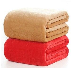 Image 1 - CAMMITEVER 5 Größen Flanell Einfarbig Decke Sofa Bettwäsche Wirft Weiche Plaids Winter Flache Bettlaken Hause