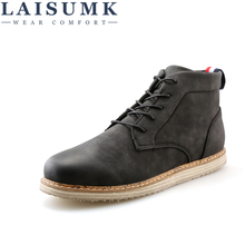 LAISUMK Mens Leather High-TOP Lace Up Autumn Martin Shoes Casual Wear Resistant Outdoor Flats Solid Color Comfortable