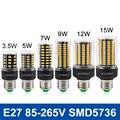 СВЕТОДИОДНАЯ Лампа E27 Светодиодная Лампа SMD5736 AC 110 В 220 В Свет 3.5 Вт 5 Вт 7 Вт 9 Вт 12 Вт 15 Вт LED Bombillas