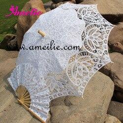 Conjunto de Casamento Da Noiva Do Guarda-chuva Battenburg Lace Parasol e Fan Fã Conjunto