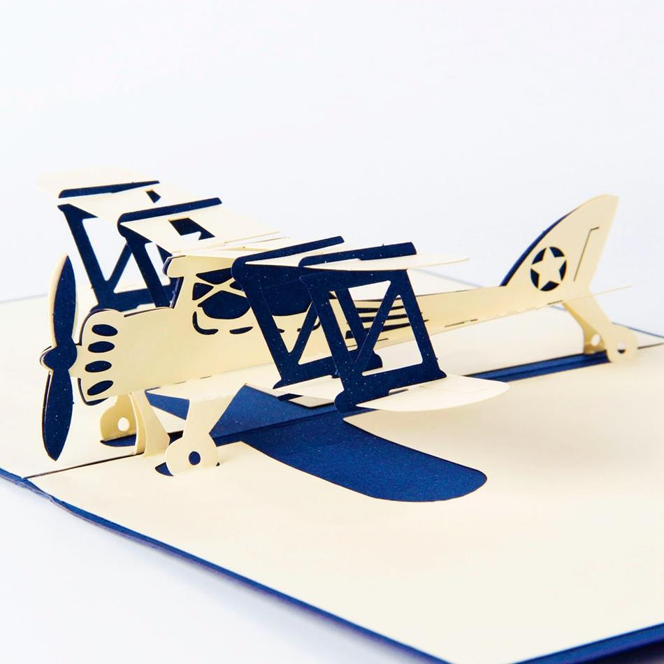 Airplane model 3D laser cut pop up blank holiday happy birthday greeting cards gifts post cards wishes bulk wholesale 4006 3d pop up the god of wealth creative gifts for birthday post card greeting cards holiday 1411r