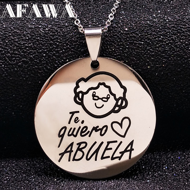 Family Grandma Stainless Steel Necklace Engraving Pendant Grandmother Choker Necklace Women Jewelry Gift Te quiero Abuela N17781