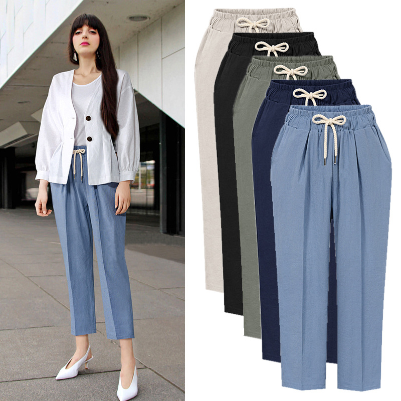Harem Pants Womens High Waist Loose Straight Ankle Length Pants Womens Casual Trousers Large Size 6XL OL Pants Womens Slacks