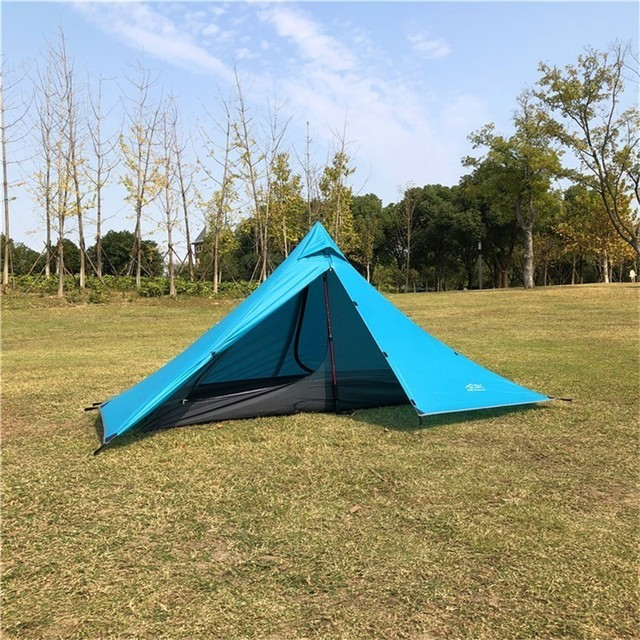 Double Layer Ultralight Rodless Pyramid Tent Single 1 Person Waterproof 4 Season All Weather Camping Tent for Hiking Hunting