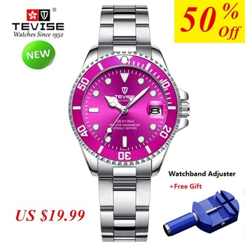 TEVISE Women Watch Waterproof Luxury Brand Stainless Steel Ladies Wrist Watch Bracelet Quartz Wristwatches woman reloj mujer