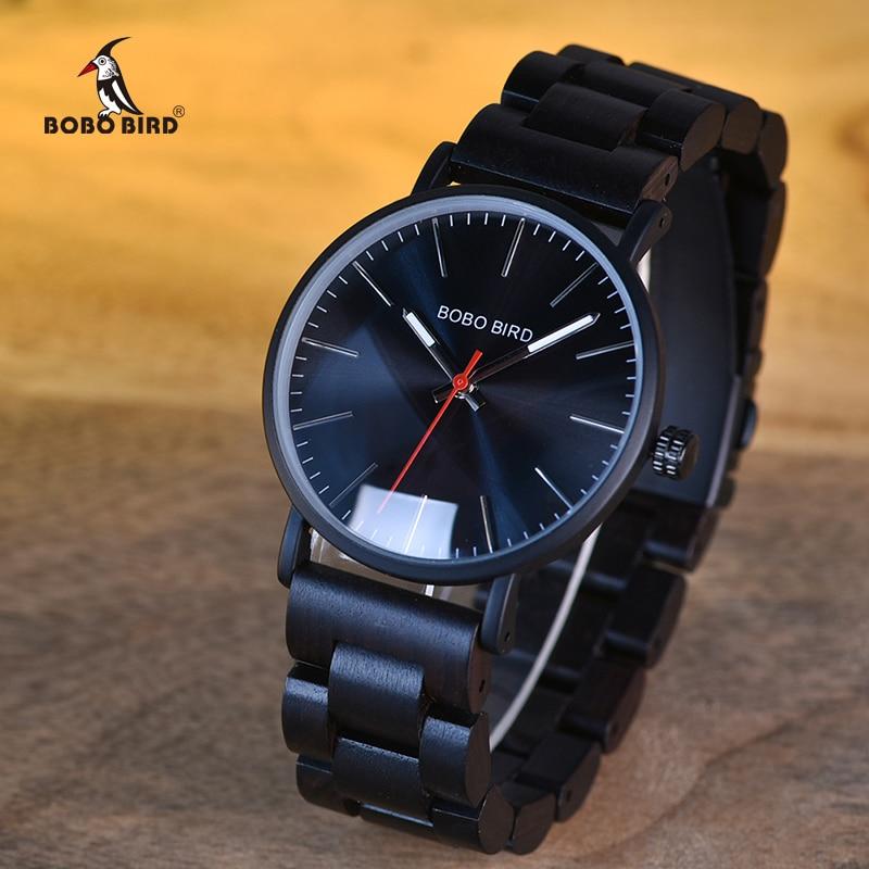 BOBO PÁSSARO De Madeira Relógios Homens Marca de Luxo relogio masculino Relógio de Quartzo Presentes Ideais Itens na caixa De Madeira erkek kol saati w-Q30