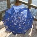 Clássico Elegante Nobre Palácio Estilo Braço Longo Nupcial Do Casamento Do Guarda-chuva Bordado Gingham Lace Parasol Umbrella Sun SA859