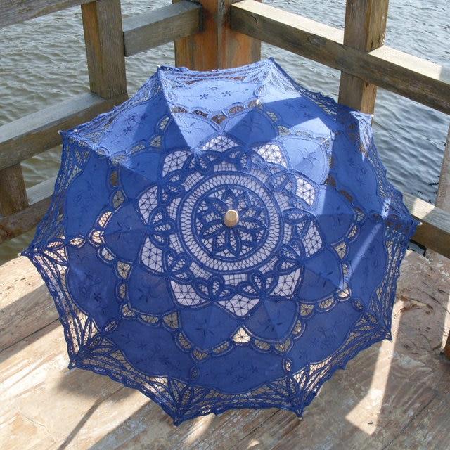 Classic Noble Elegant Palace Style Long Arm Wedding Bridal Umbrella Embroidery Gingham Lace Parasol Sun Umbrella SA859