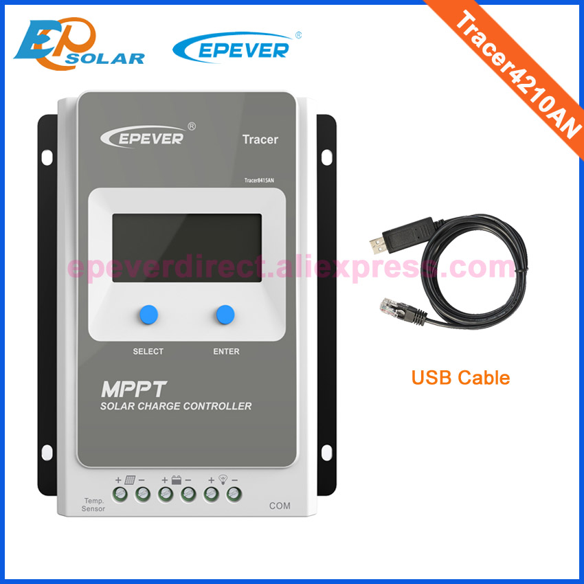 Tracer4210AN with USB cable solar charger controller EPEVER MPPT excellent quality 40A 12V 520W 24V 1040W panels system 20a controller 12v 260w 24v 520w solar panels system apply use mppt epever tracer2210a solar controller 20amp