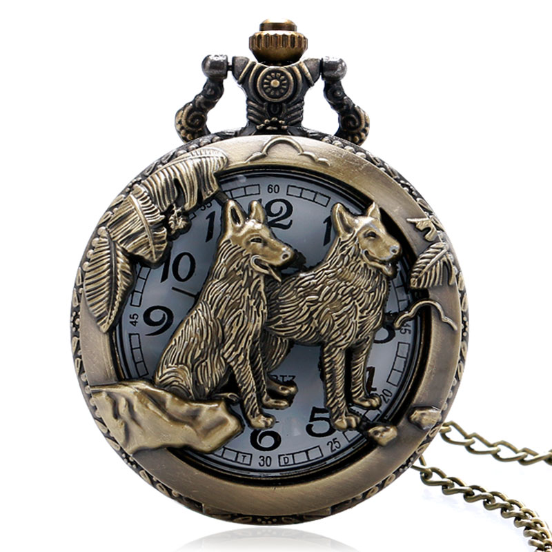 Classic Vintage Bronze Dog Wolf Hollow Quartz Fob Pocket Watch with Necklace Chain Cool Pendant Clock Gift for Women Men vintage bronze quartz pocket watch glass bottle antique fob watches classic men women necklace pendant clock with chain gifts